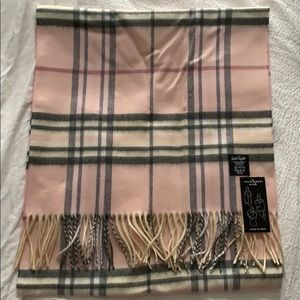 NEW Lord and Taylor Pink Plaid Blanket Wrap Scarf